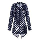 Yying Damen Regenjacke Wasserdicht mit Kapuze Leichte Active Outdoor Regenjacke Windbreaker Navy/White Dot 2XL