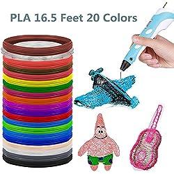 3D Pluma Filamento,Filamento 3D PLA 1.75(20 colores, 16.5 pies)