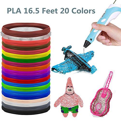 3D Stift Filament,PLA 3D Pen Filament(20 Colors, 16.5 Fuß) …