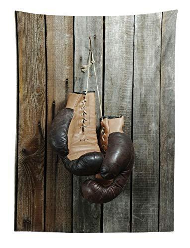 ABAKUHAUS Ancien Tapisserie, Gants de Boxe Vintage Surle Vieux Fond en Bois Equipement Ancien Photo Art Print, pour Le Salon, 110 x 150 cm, Marron