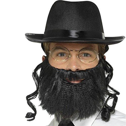 Amakando Rabbi Kostüm Set mit Hut, Haar, Bart u. Brille Jüdische Kleidung Rabbiner Verkleidung Jude Judenkostüm Accessoire Geistlicher Jüdische - Rabbi Hut Kostüm