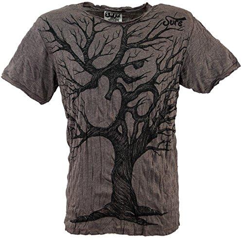 Guru-Shop Sure T-Shirt OM Tree, Herren, Taupe, Baumwolle, Size:M, Bedrucktes Shirt Alternative Bekleidung -