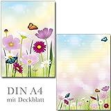 Schreibblock schöne Blumenwiese 25 Blatt Format DIN A4 mit Deckblatt