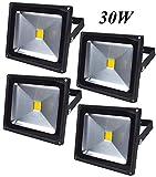 Leetop 4X Top-Qualität 30W LED Lampe Fluter Scheinwerfer IP65 Kaltweiss Schwarz Aluminium Flutlicht Wasserdicht Strahler