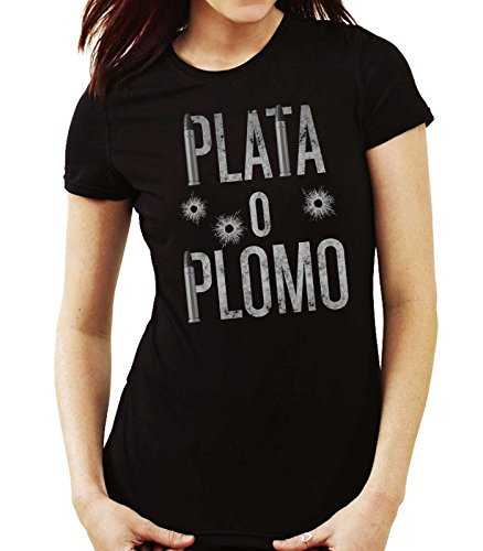 35mm - Camiseta Mujer Plata o Plomo-Narcos-Pablo Escobar, Negra, M