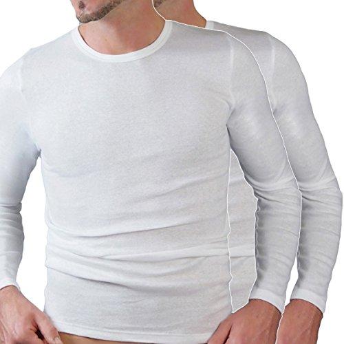 HERMKO 3640 2er Pack Herren langarm Shirt (Weitere Farben), Farbe:weiß, Größe:D 5 = EU M