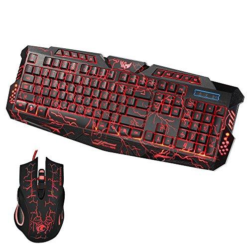 LANDFOX USB 2.0 LED Gaming Wired 2.4G Tastatur und Maus auf Computer Multimedia Gamer
