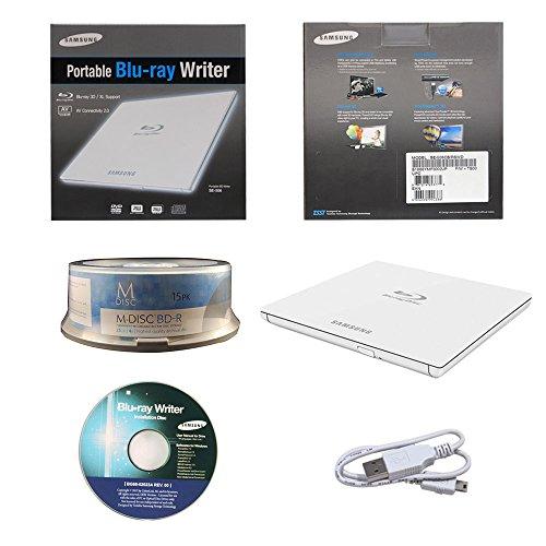 Laufwerke Computer-hardware (Samsung Ultra Slim Einzelhandel Externe 3D Blu Ray Brenner BDXL DVD CD Burner-Laufwerk Kleinkasten -Weiß mit FREE 15pk Mdisc BD + Software + Kabel)