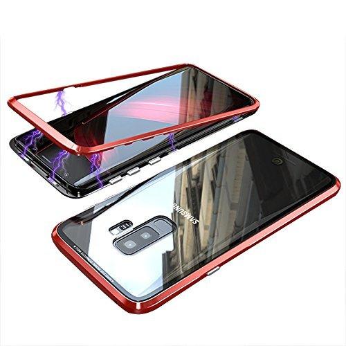QLTYPRI Samsung Galaxy Note 8 Hülle, Magnetische Metall Handyhülle Aluminium Transparent 9H Hartglas Rücken Keine Schutzfolie [Unterstützt Kabellose Aufladen] für Samsung Galaxy Note 8 - Klar Rot