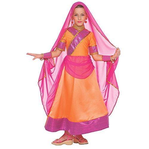 Kinder Indisch Bollywood Hindi Kostüm Karneval Mädchen Tänzerin Kleidung - Groß (9 - 11 Jahre)