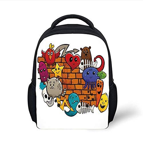 Kids School Backpack Graffiti Decor,Cute Cartoon Animals Stars Fish Skulls Cat Bird Figures on Brick Wall Kids Design,Multi Plain Bookbag Travel Daypack Womens Graffiti Mesh
