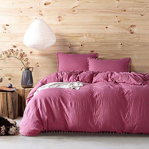 Perkal-doppel-duvet-set (einfarbig einfache bettwäsche schlafzimmer Set flachblech ebene Gefärbt Falbala Duvet Set 4 stücke 1 bettbezug, 1 bettwäsche, 2 Kissenbezug , 007 , 200x200cm)