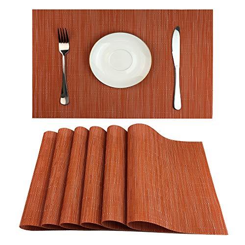 Red-A Tischsets für Esstisch hitzebeständig abwaschbar Platzmatten pflegeleicht Modern Set of 6 Orange - 200 Kaffeemaschine Grad