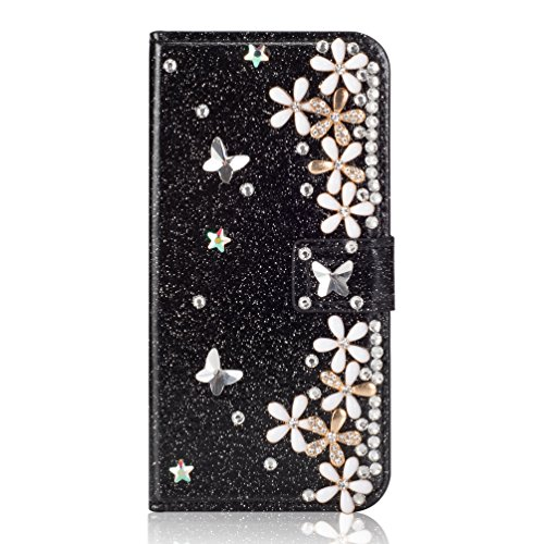 Klapphülle Pocket für iPhone XS iPhone X,Magnetverschluss Kartenfach Leder Diamant Loves Funkeln Bling Glitzer BookStyle Slim Ledertasche Flip Folio Wallet Stand Card Slots Etui Hülle -