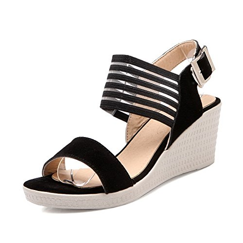 VogueZone009 Donna Fibbia Tacco Medio Pelle Di Mucca Plastica Heeled-Sandals Bianco