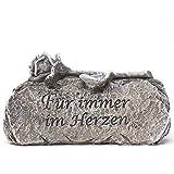 Trauer-Shop Deko Stein Für Immer im Herzen mit aufliegender Rose. Breite 14,5 cm. 1 Stück