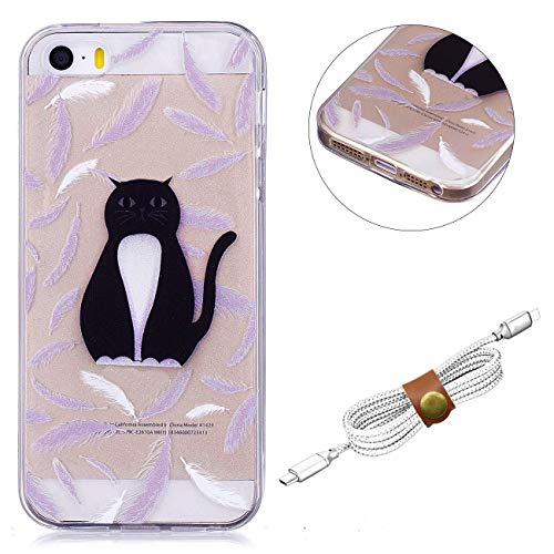 QY Mart Clear Cover Compatible with iPhone 5/5S/SE Colorful Printed Design Rubber Skin Jelly Back Case Flexible Gel TPU Bumper Slim Silicone Shell + Headphone Organizer - Black Cat (Jelly Lila Iphone Case 5)