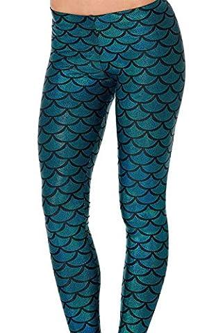 JNTworld Frauen Sexy Meerjungfrau Fisch Skala Weich Glanz Leggings, XL, blau