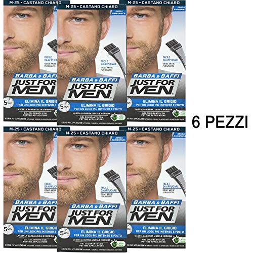 Scopri offerta per 6 X JUST FOR MEN BARBA E BAFFI COLORE TINTURA UOMO PERMANENTE CON PENNELLO SENZA AMMONIACA CASTANO CHIARO M 25 2X 14 ML GEL COLORANTE