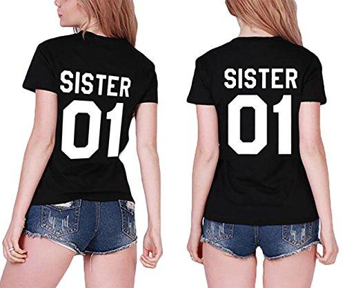 *Best Friends T-shirt 2 Stücke Sister Passende für 2 Mädchen Kurzarm beste Freundin Geschenke von JINT (S+S, Schwarz)*