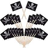Blulu Piraten Cocktail Zahnstocher Flaggen Kuchen Deckel für Nahrung, Aperitif, Cocktail, Cupcake Dekoration für Kinder Halloween Geburtstag Party Dekorationen (200 Stück)