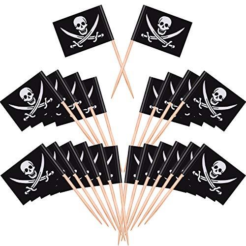 Blulu Piraten Cocktail Zahnstocher Flaggen Kuchen Deckel für -