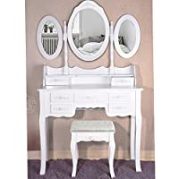 MissSnower Monaco Dressing Table with Stool and 3 Oval Mirrors and 7 Storage Drawers, Shabby Chic Make Up Desk Bedroom Sets 022