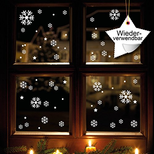 Wandtattoo-Loft Fensterdeko Schneeflocken 120 Stück Fensteraufkleber Weihnachten