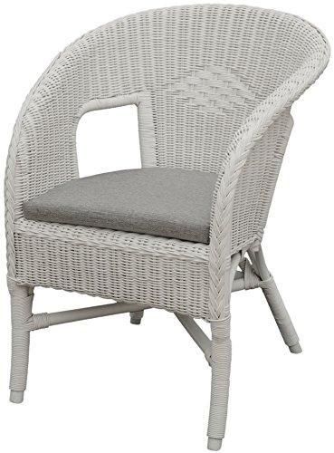 Rattan-Sessel / Stapelsessel Bella in der Farbe Weiss mit Polster, aus Natur-Rattan - Versandkostenfrei in DE