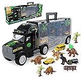 Dinosaurier und Wild Life Tier Safari Car Carrier Transport LKW Spielzeug (enthält 6 Dinosaurier 6 Auto 1 Flugzeuge (schwarz)