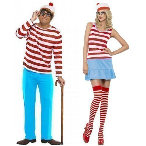 en UND Herren Where's Wally Wenda Cartoon Buch 1980er 80er jahre Kostüm Outfits - Mehrfarbig, Damen 40-42 & Herren L (Wheres Wally Kostüm)