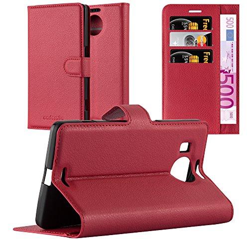 Cadorabo Hülle für Nokia Lumia 950 XL - Hülle in Karmin ROT - Handyhülle mit Kartenfach & Standfunktion - Case Cover Schutzhülle Etui Tasche Book Klapp Style