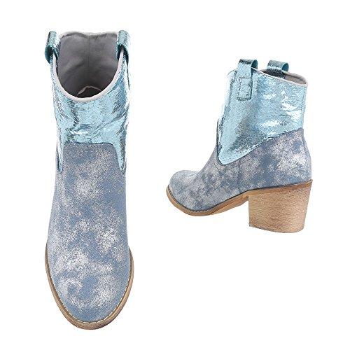 Ital-Design Cowboy-/Westernstiefeletten Damenschuhe Cowboy Stiefel Kubanischer Absatz Western Style Stiefeletten Blau Silber