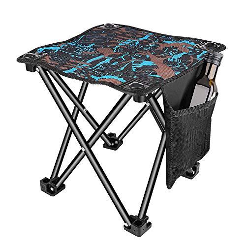 Unihoh Pequeño Taburete Plegable para Acampar, Silla portátil para Acampar al Aire Libre, Caminar, Practicar Senderismo, Pescar, Viajar, 600D Oxford Slacker Chair con Bolsa de Transporte