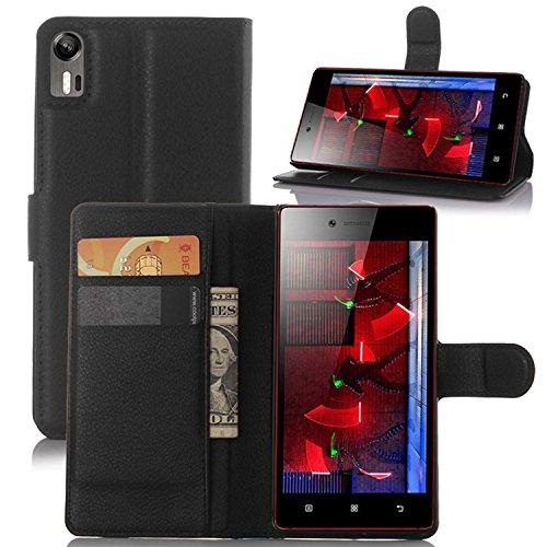 Tasche für Lenovo Vibe Shot Z90-7 Hülle, Ycloud PU Ledertasche Flip Cover Wallet Case Handyhülle mit Stand Function Credit Card Slots Bookstyle Purse Design schwarz