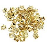 MagiDeal 100er Metall Pyramiden Nieten Ziernieten Gothic Stil - Gold, 7x7mm