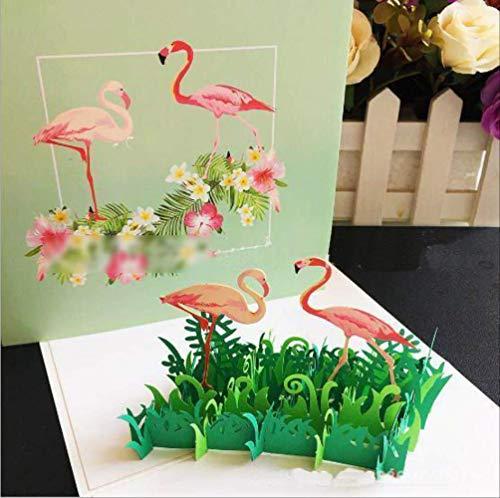 CHZDSB Grußkarte 3D Flamingo -Geburtstags -Pop -Up -Karten -Festival -Party -Gruß -Karte Danksagungs -Segen -Karte Postkarte Einladungs -KarteFlamingo