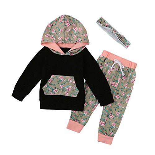 Babykleidung,Sannysis Baby Mädchen Junge Kleider Set Floral Hooded Tops + Pants Outfits(6-24Monat) (70, Schwarz) (Schwarz Tee Strass)