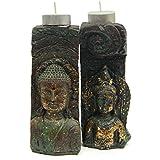 A Pair Of Tranquil Buddha T-lights - Buddha 2, T Light 2, Decorative T Light, Home Décor Item, T Light Online, Diwali Gifts, Buddha T Light - DIWALIGIFTS113152