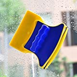 HomeExpo Magnetic Window Cleaner Double-Side Glazed Two Sided Glass Cleaner Wiper with 2 Extra Cleaning Cotton Cleaner Squeeg