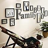 CQSMOO Mauer Skulptur Rahmen Foto Wand Holz Bilderrahmen Wand im europäischen Stil Wohnzimmer Schlafzimmer 10 Bilderrahmen Kombination by (Farbe : Black)
