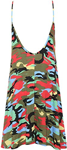 WEARALL Femmes Grande Taille Multi Camouflage Trapèze Swing Impression Robe Évasée Chasuble Sans Manches - 44-54 camouflage