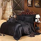 Man · life Einfarbig Seide Bettwäsche Set Schlafzimmer Flachblech Luxus Duvet Set Mode Einfache Geschenk Schwarz 4 Stücke, 220X240Cm