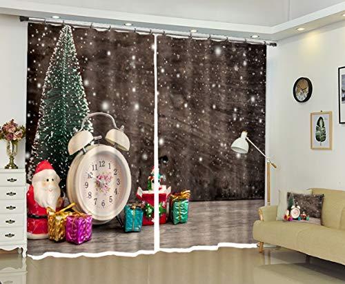 S-vision Vorhänge 3D 2 Panel Eyelet Ring Top Anti-UV Thermal Blackout Print Weihnachtspersönlichkeit Vorhänge, Einschließlich Haken Und Römische Ringe - Weihnachtsbaum,D-W203cmH213cm -