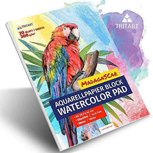 HOCHWERTIGES Aquarellpapier A3 / 300g / Weiß / 35 Blatt   A3 Aquarellblock   XXL von Tritart