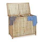 Relaxdays–Cesto para la colada cesta para la ropa sucia (2parte colada 46,1x 87,9x 68,1cm lavandería Sorter doble la ropa sucia caja con 2bolsas de basura para, Natural