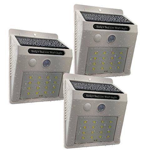 Trango 3er Pack 16 LED Solarleuchte Wandleuchte Sicherheitsleuchte inkl. Bewegungsmelder & Helligkeitssensor sorgen für Auto AN/AUS TGSOL-YF16W