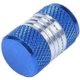 SODIAL 4 Pieces Bouchon de valve de pneu en alliage d'aluminium Soupape de valve de pneu pour la voiture Couverture de valve de pneu anti-poussiere Capuchons de valve Couleur: Bleu