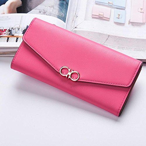 Portafoglio Donna, Tpulling Borsa lunga della borsa della frizione di svago di tempo della borsa del cuoio di modo delle donne (Hot Pink) Hot Pink