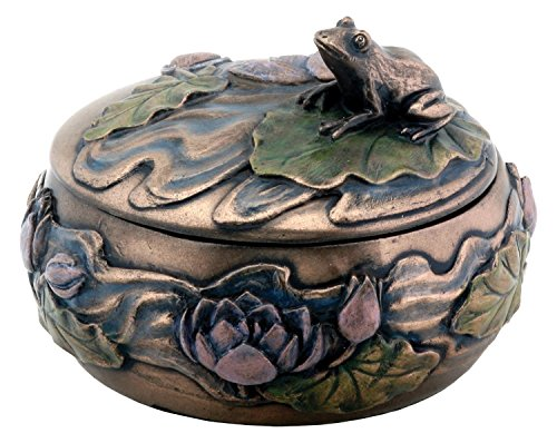 Summit stealstreet Frosch sitzend auf Lily Dekoration Art Nouveau Design Jewelry Box